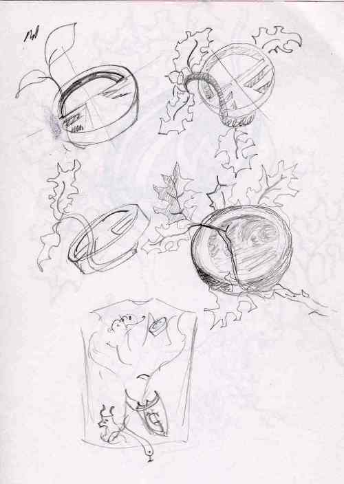 Sketch Ideas for Icons nestled in branches